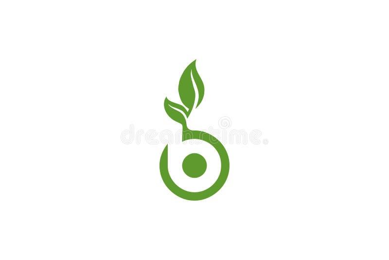 信件B自然叶子商标 向量例证
