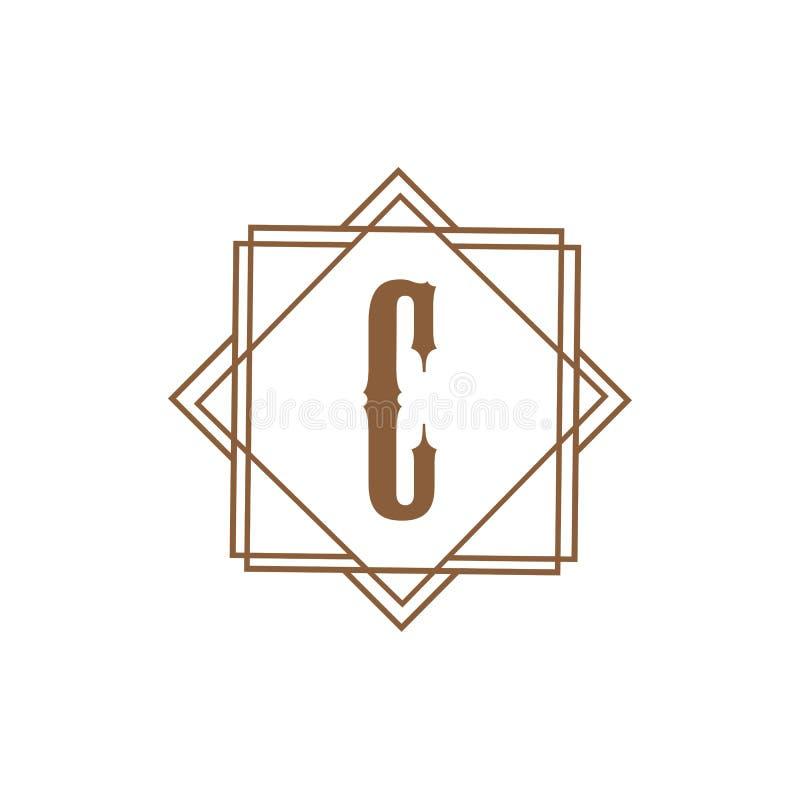 信件C商标模板传染媒介象设计 皇族释放例证