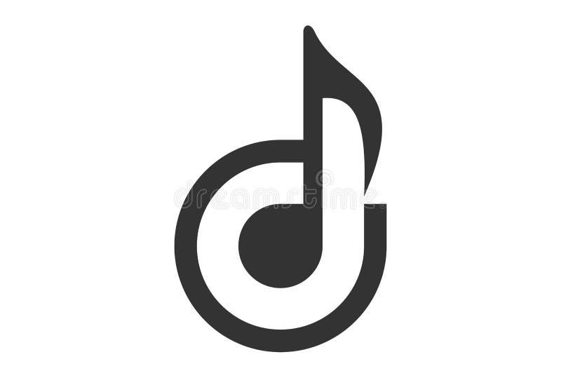 信件D音乐笔记商标 向量例证