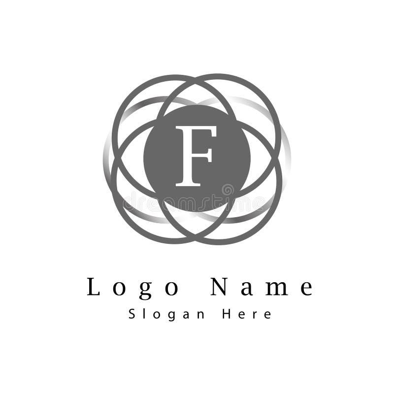 信件F商标有无限圈子背景 库存例证