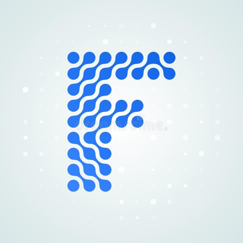 信件F商标现代半音象 导航平的信件F标志未来派蓝色小点线液体字体时髦数字式设计 皇族释放例证