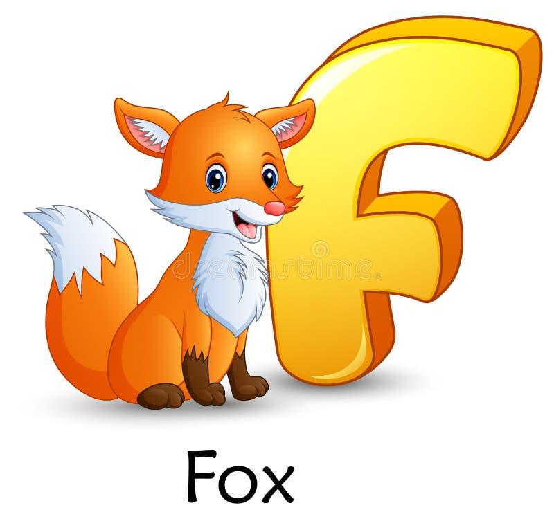 信件F是为Fox动画片字母表 向量例证