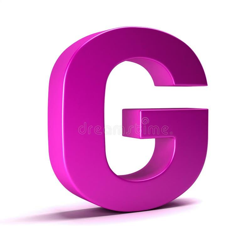 信件G最初女孩桃红色颜色 3d例证回报 库存例证