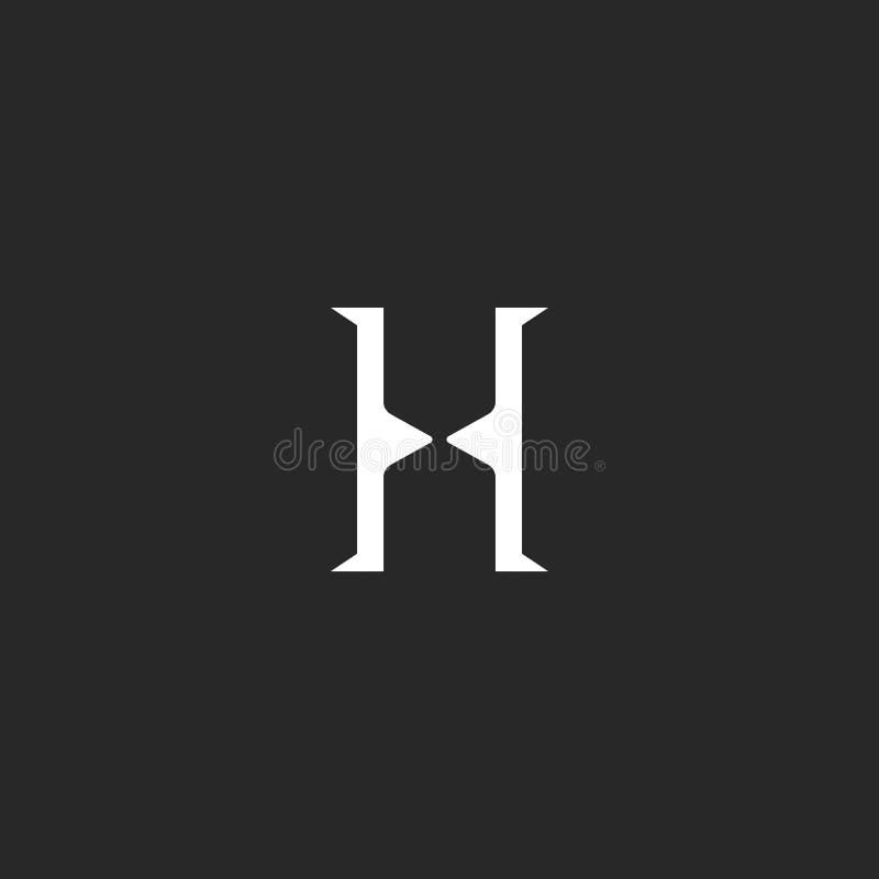 信件H组合图案商标,最小的简单的身分最初标志,创造性的滴漏形状象 向量例证