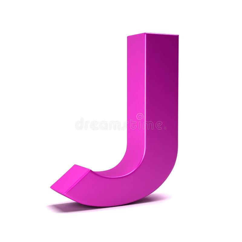 信件J最初女孩桃红色颜色 3d例证回报 皇族释放例证