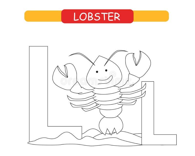 信件L和滑稽的动画片龙虾 E E 在传染媒介的逗人喜爱的动物园字母表学会英国voc的孩子的 皇族释放例证