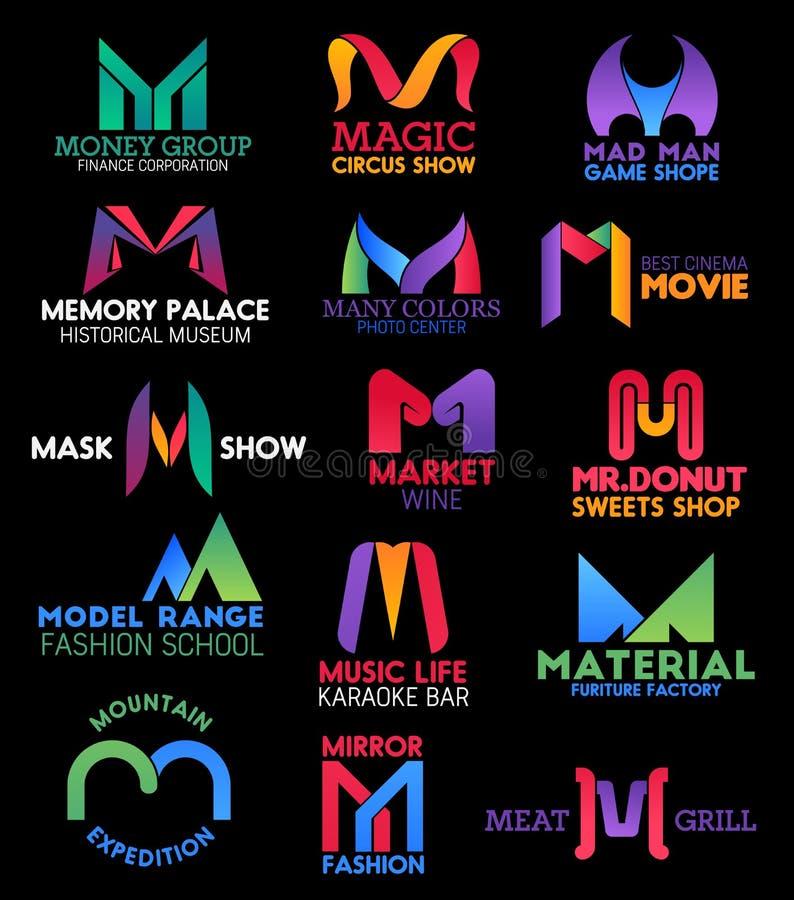 信件M公司本体名牌象 向量例证