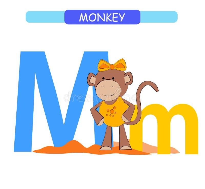 信件M和滑稽的动画片猴子 E r Printab 皇族释放例证