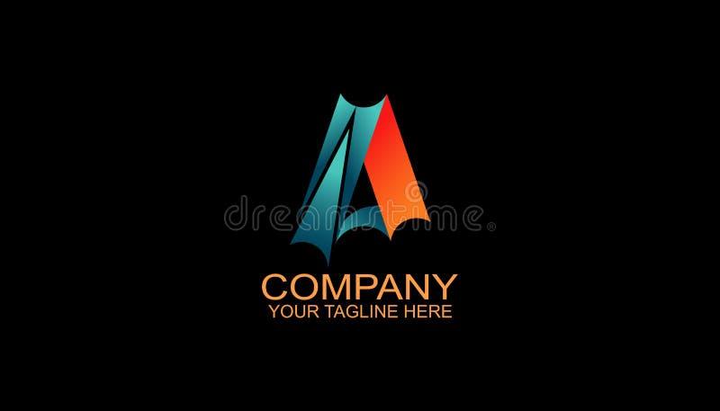 信件M商标与现代样式和黑,橙色颜色的设计模板 免版税库存照片