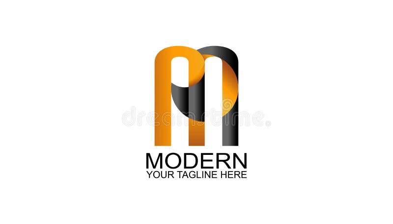 信件M商标与现代样式和黑,橙色颜色的设计模板 库存图片