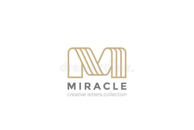 信件M商标丝带设计线性摘要的传染媒介 库存例证