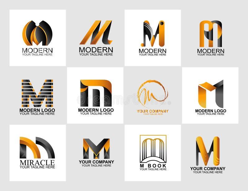 信件M商标汇集,公司本体商标 免版税库存图片