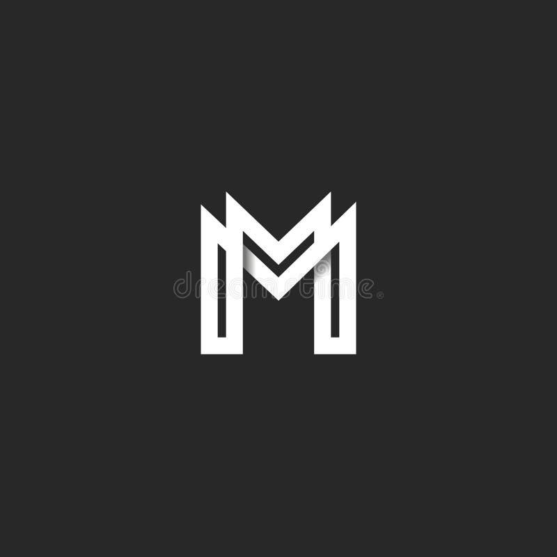 信件M商标组合图案,重叠的线标记MM最初组合标志大模型,黑白印刷术设计行家 向量例证