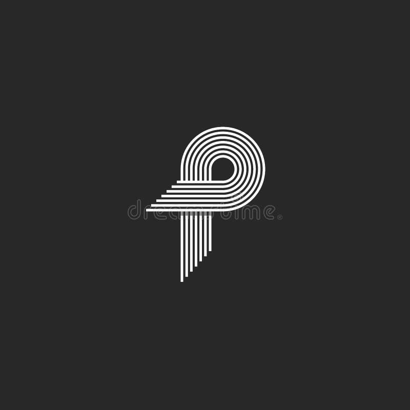 信件P商标创造性的现代组合图案,许多平行的线使几何形状光滑 向量例证