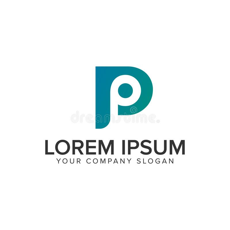 信件P现代商标设计观念模板 库存例证