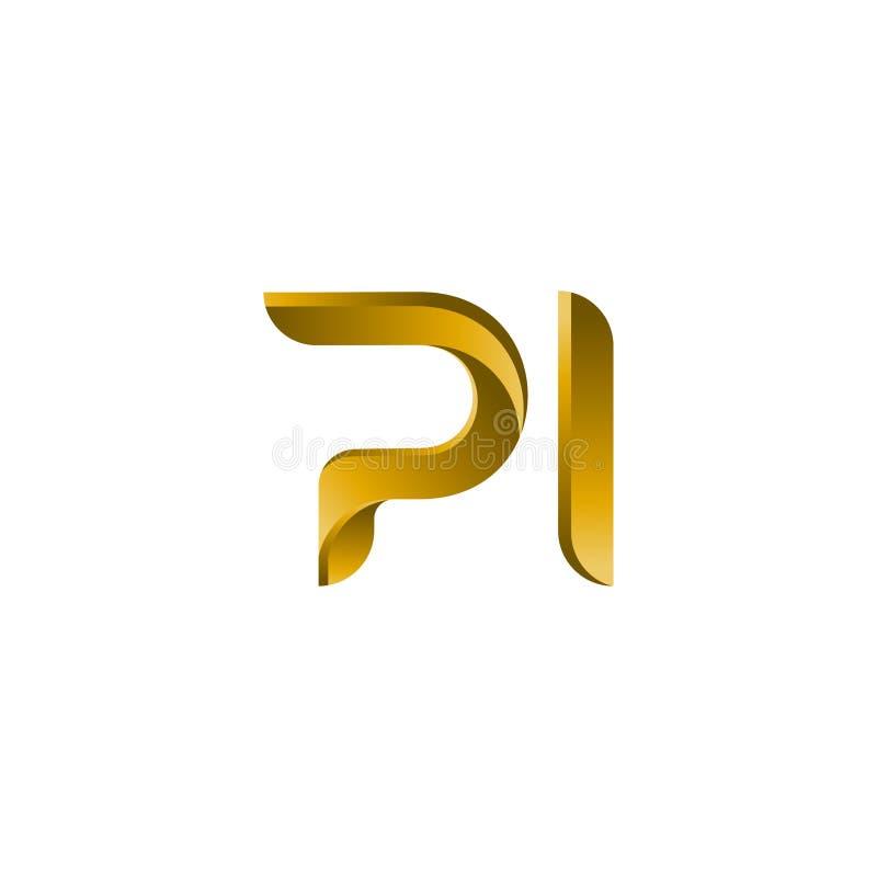 信件PI商标最初传染媒介标记 PI, P和我在抽象传染媒介商标设计模板上写字 创造性的印刷概念象