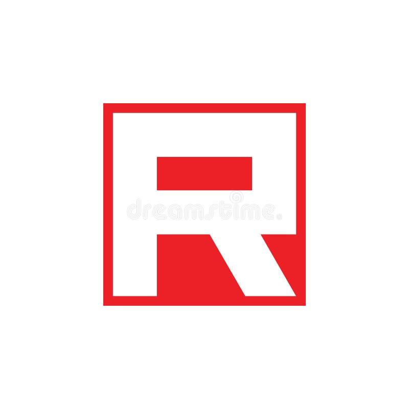 信件r简单的消极空间几何商标传染媒介 向量例证