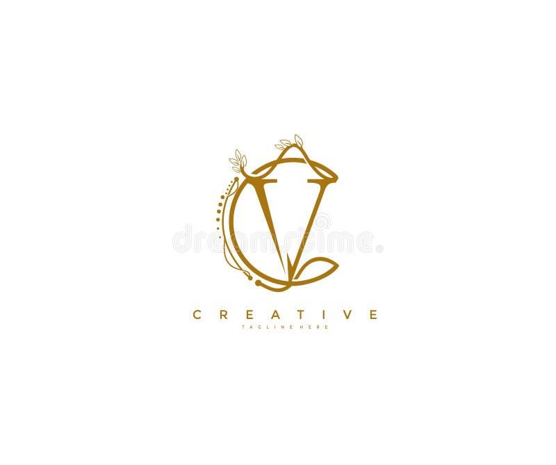 信件v花卉组合图案环绕了华丽典雅的商标设计 向量例证