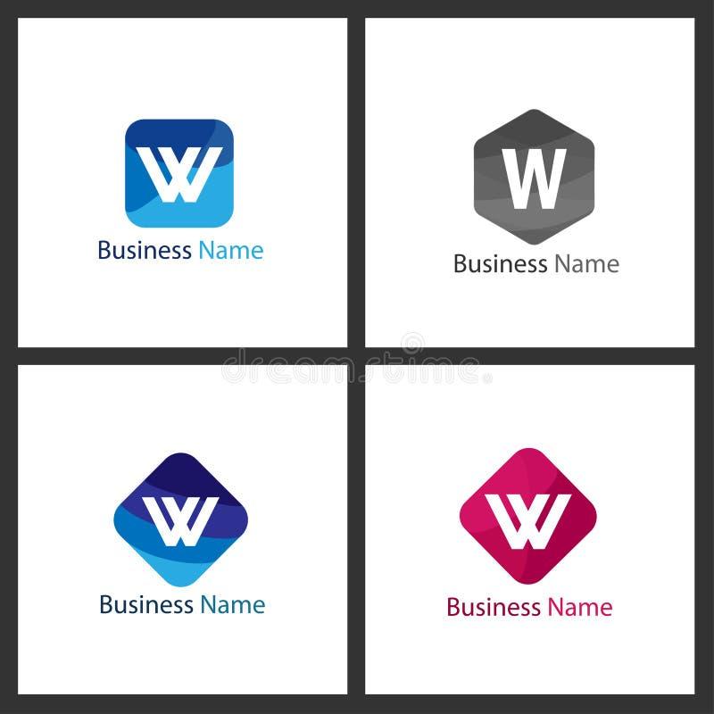 信件W商标集合 向量例证