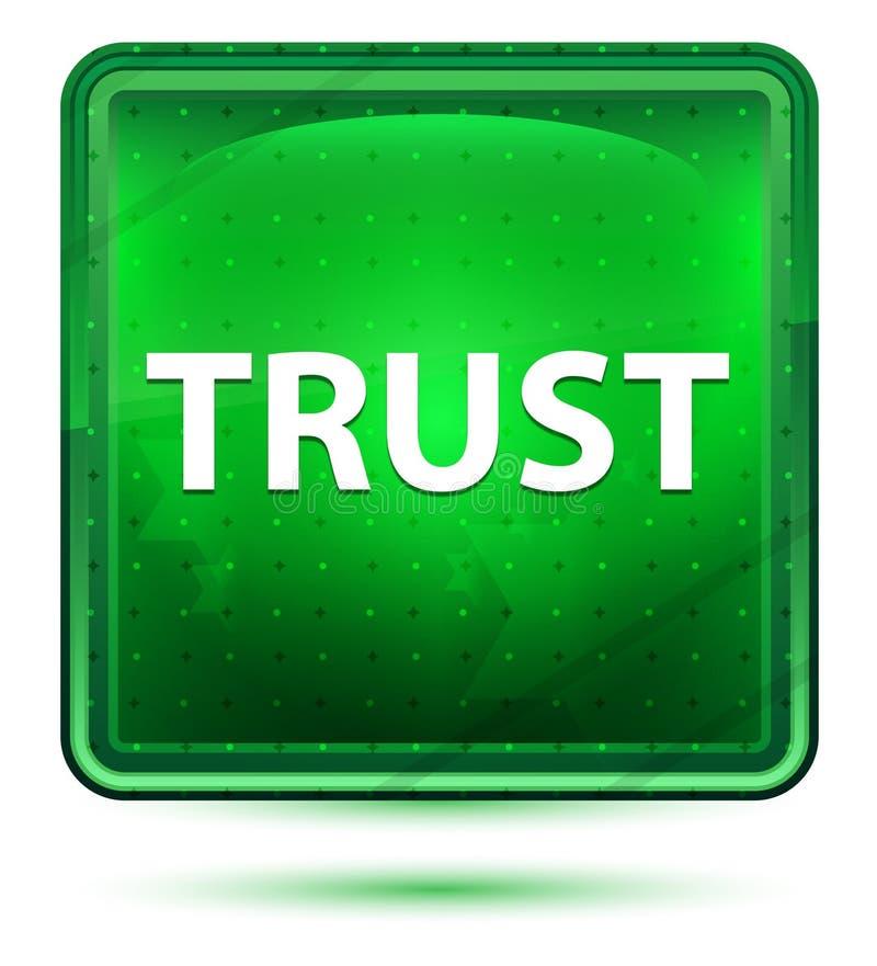 信任霓虹浅绿色的方形的按钮 皇族释放例证