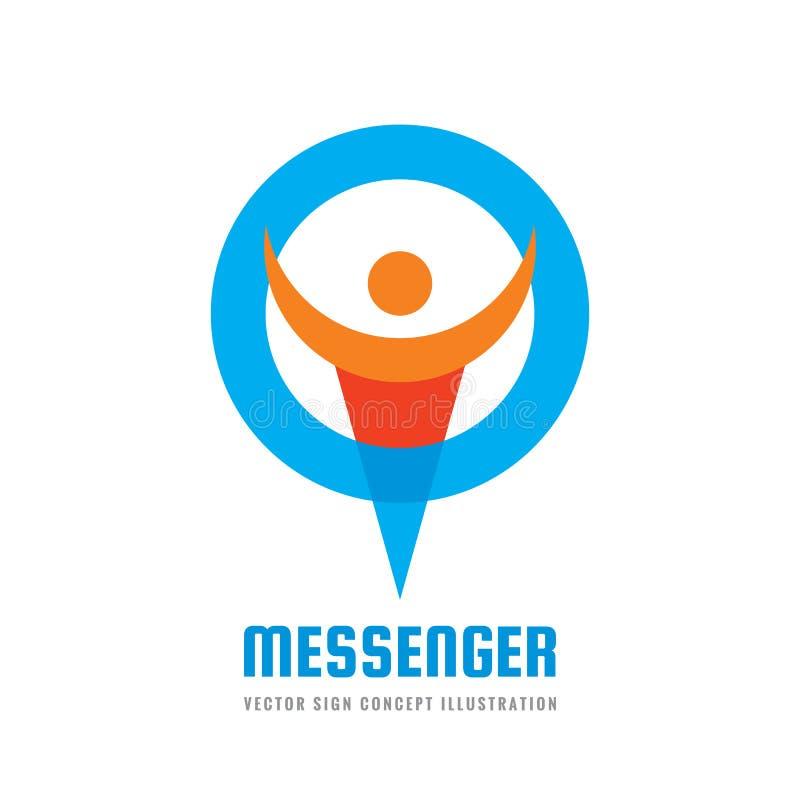信使-传染媒介商标模板概念例证 社会媒介摘要创造性的标志 闲谈谈的标志 人的字符我 库存例证