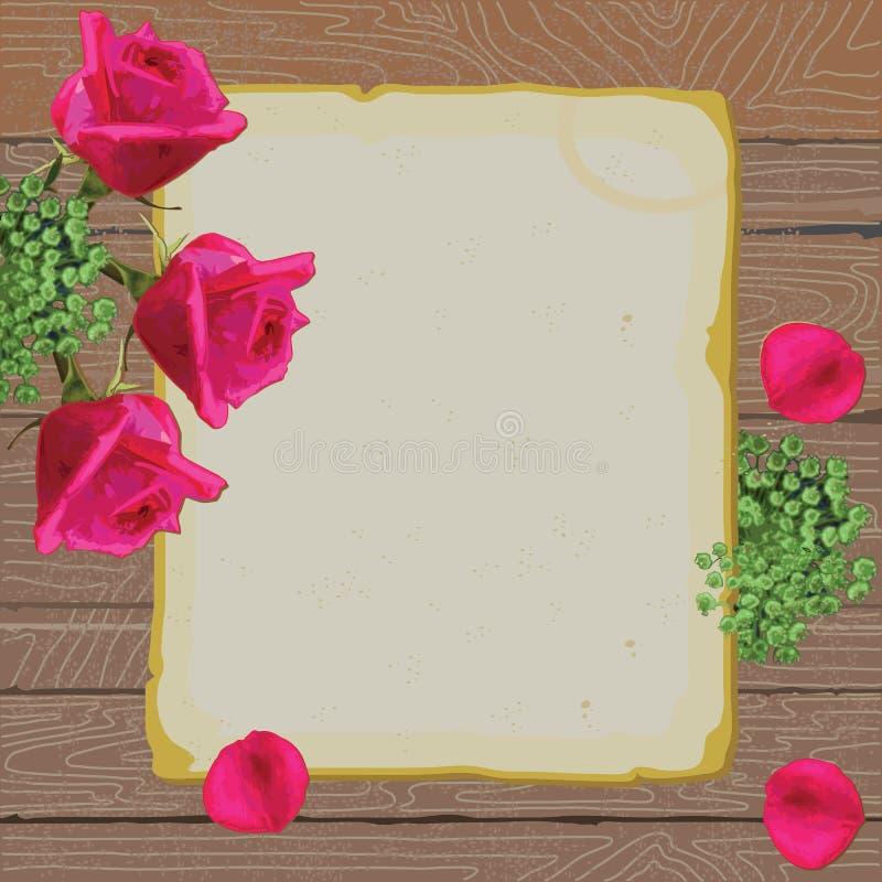 信函爱纸张玫瑰葡萄酒 向量例证