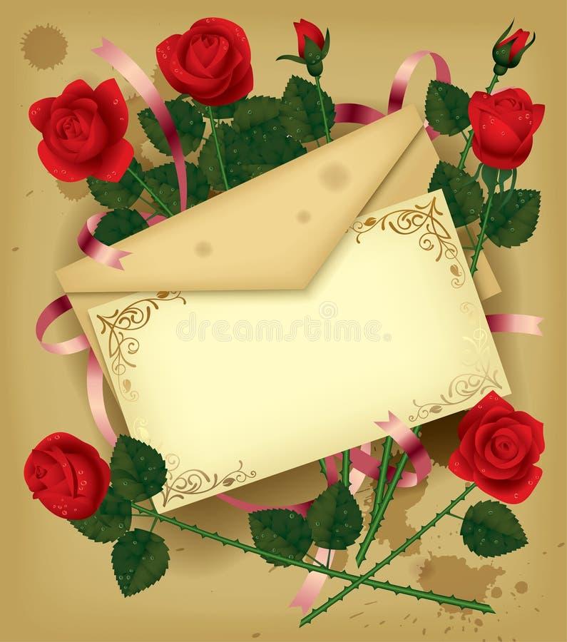 信函玫瑰 向量例证