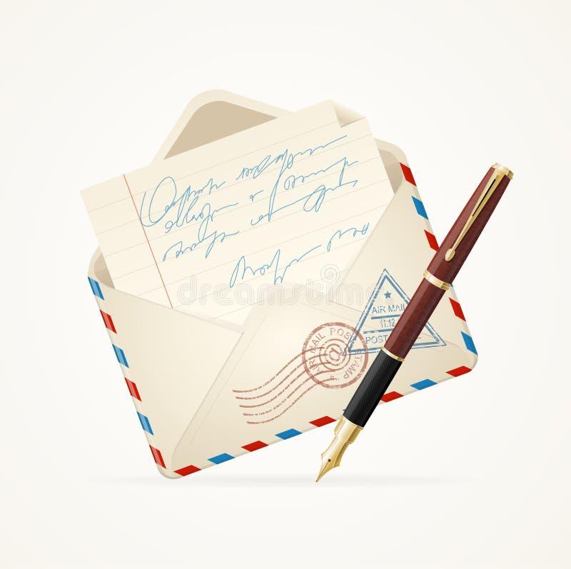 信函邮件和笔 向量 皇族释放例证