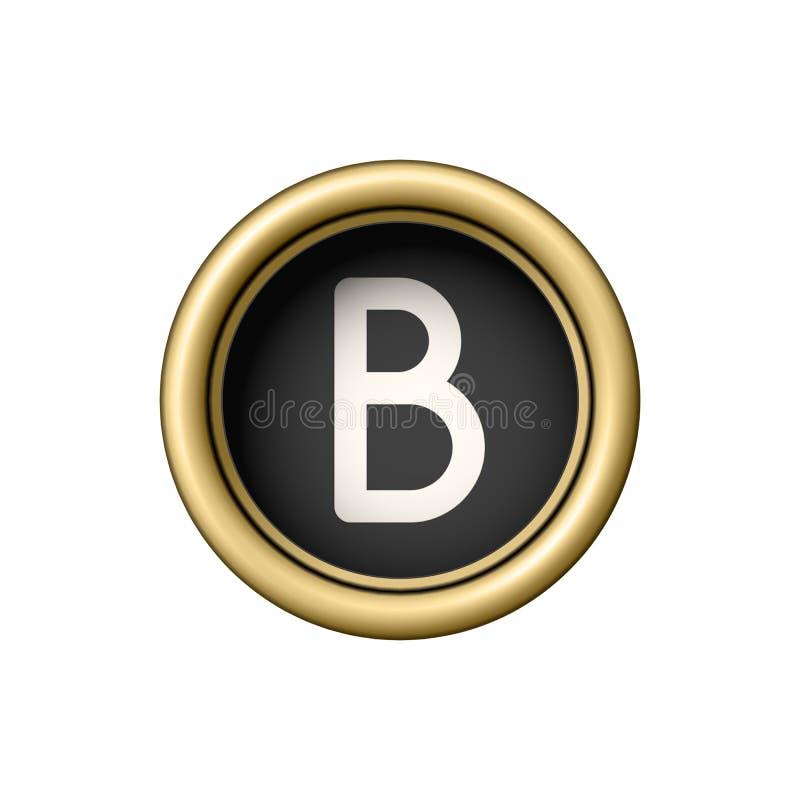 信函B 葡萄酒金黄打字机按钮 向量例证