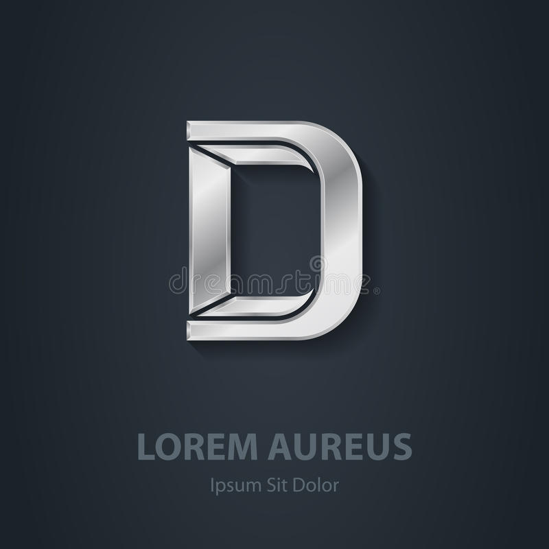信函D 传染媒介典雅的银色字体 公司商标的模板 皇族释放例证