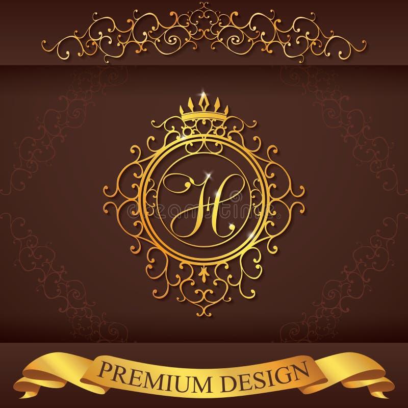 信函H 豪华商标模板茂盛书法典雅的装饰品线 企业标志,餐馆的,皇族, Bo身分 库存例证