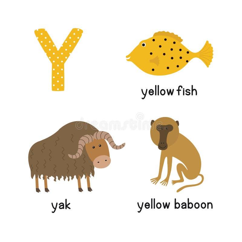 信函y 孩子的动画片字母表 例证动物牦牛,黄色鱼,黄色狒狒 皇族释放例证
