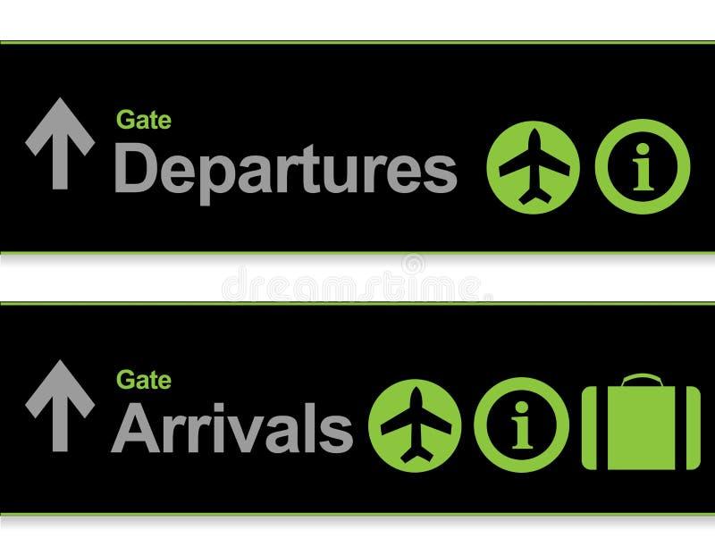 信号到达-从机场的启运 库存例证