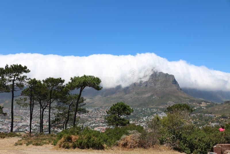 从信号小山看见的桌山,开普敦,南非 免版税库存照片