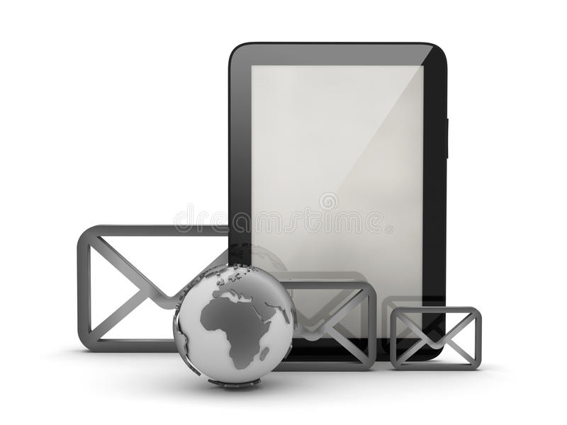 信封、片剂计算机和地球地球 库存例证