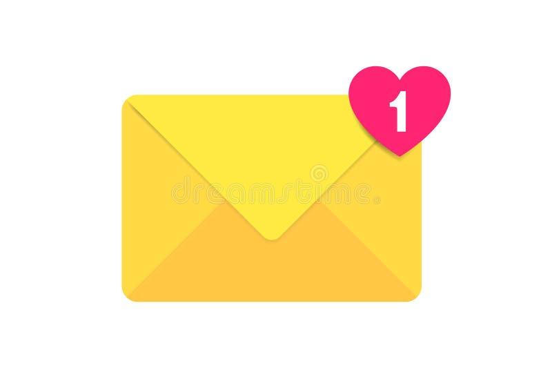 信封信件象 与心脏信件的邮件信封 收到的消息的标志 邮箱通知 电子邮件 库存例证