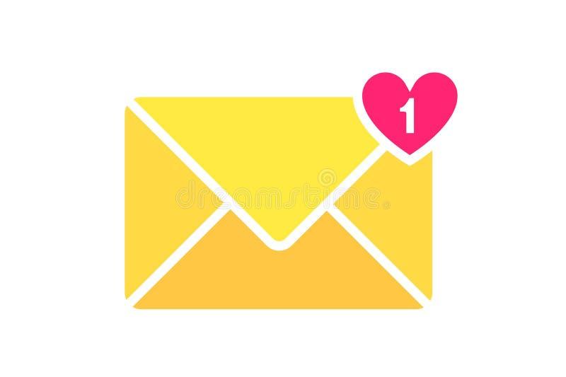 信封信件象 与心脏信件的邮件信封 收到的消息的标志 邮箱通知 电子邮件 向量例证