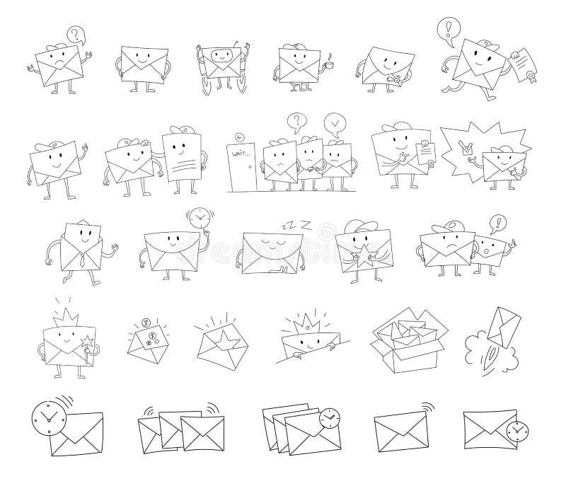 信封剪影大集合手拉的字符 邮寄的订阅 手写的黑线 库存例证