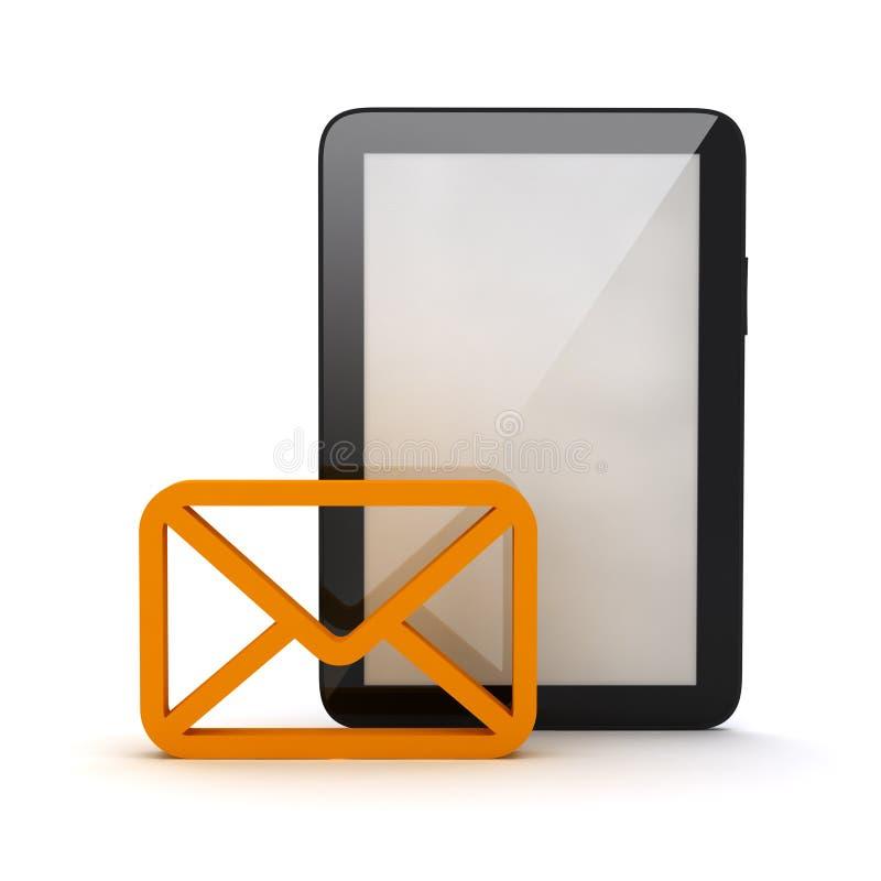 信封和片剂计算机形状  皇族释放例证