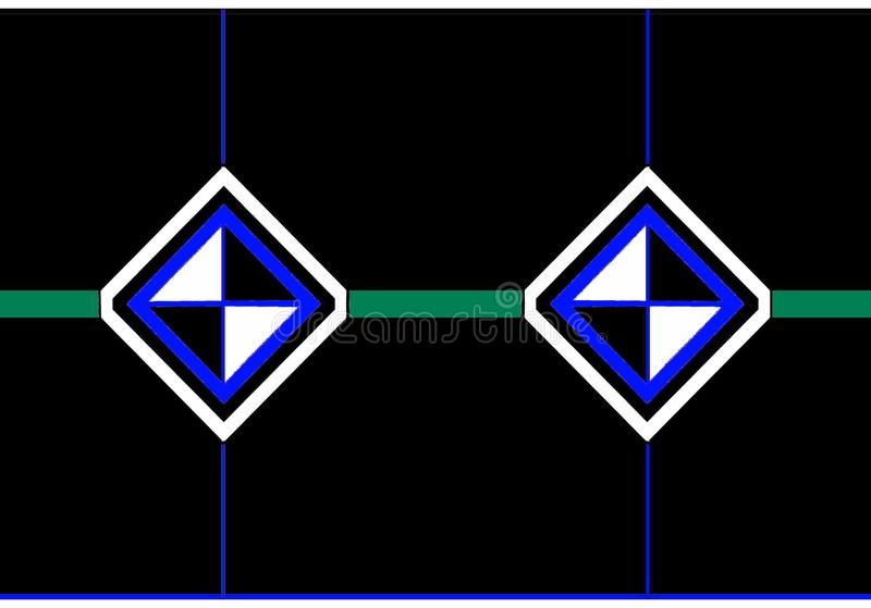信封象:与黑白三角的黑,蓝色和白色金刚石 库存图片