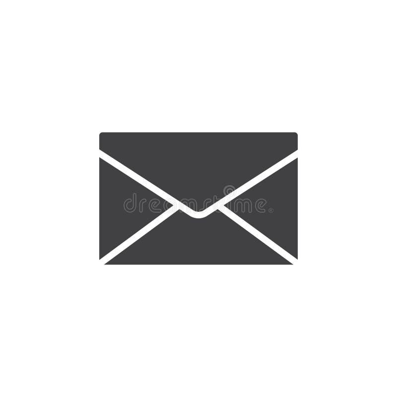 信封,邮件,消息象传染媒介,填装了平的标志,在白色隔绝的坚实图表 向量例证