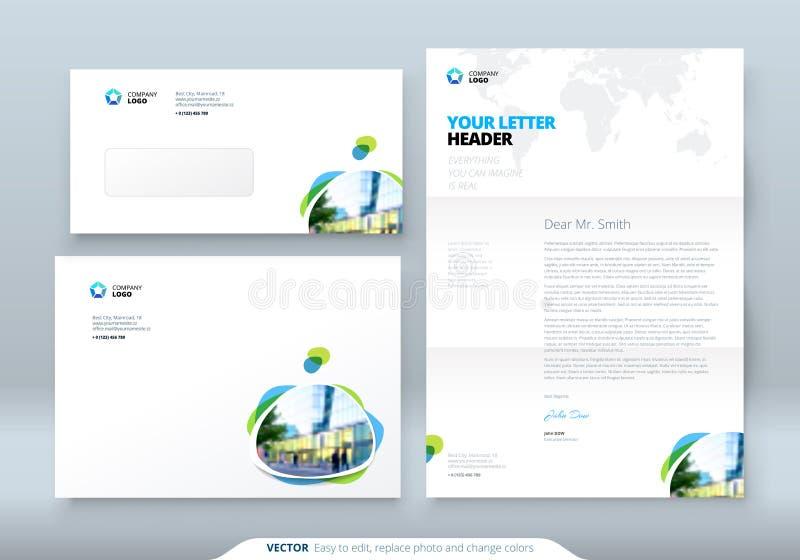 信封DL, C5,信头 信封和信件的公司业务模板 与现代色的斑点的布局 库存例证