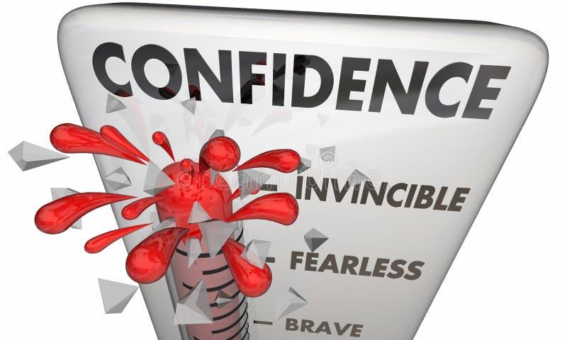 信心温度计勇敢的确定的勇气 库存例证