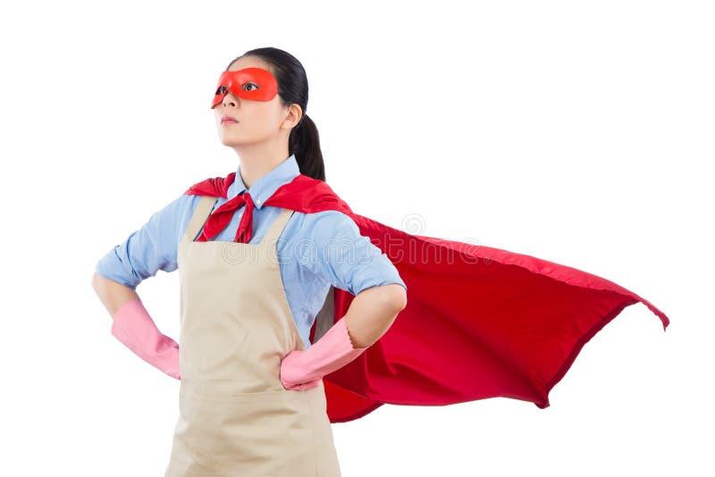 信心超级英雄房子妻子救球家 免版税库存照片