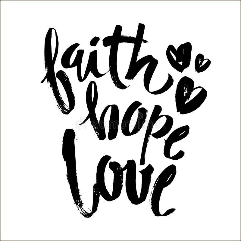 信念希望爱,传染媒介圣经书法,信念手字法,现代剧本字体字法,与现代的传染媒介海报 向量例证