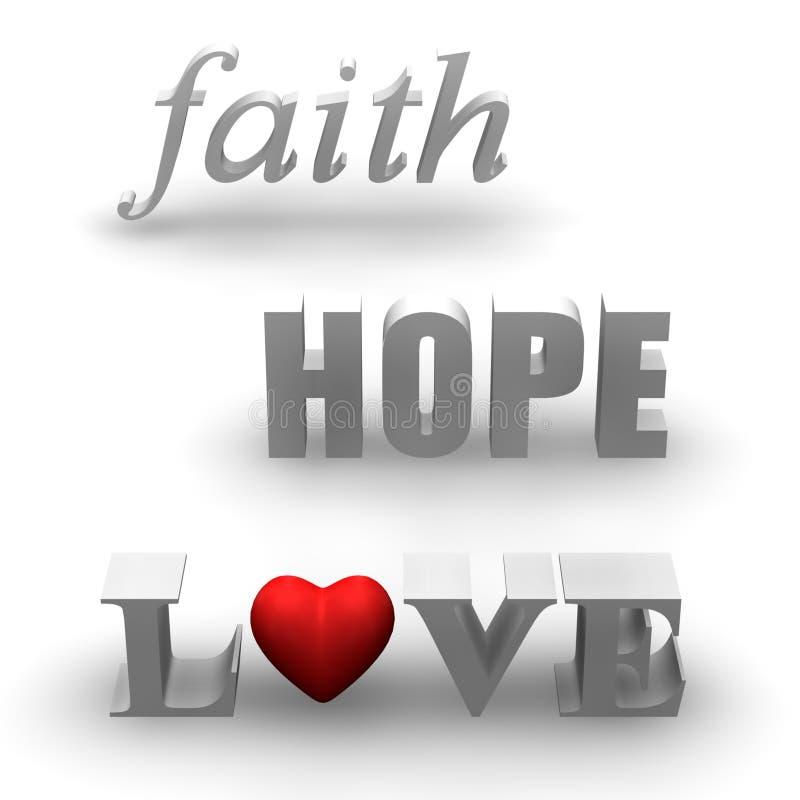 信念希望爱 向量例证