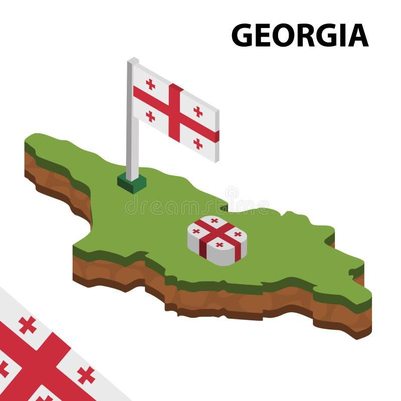 信息乔治亚图表等量地图和旗子  r 皇族释放例证