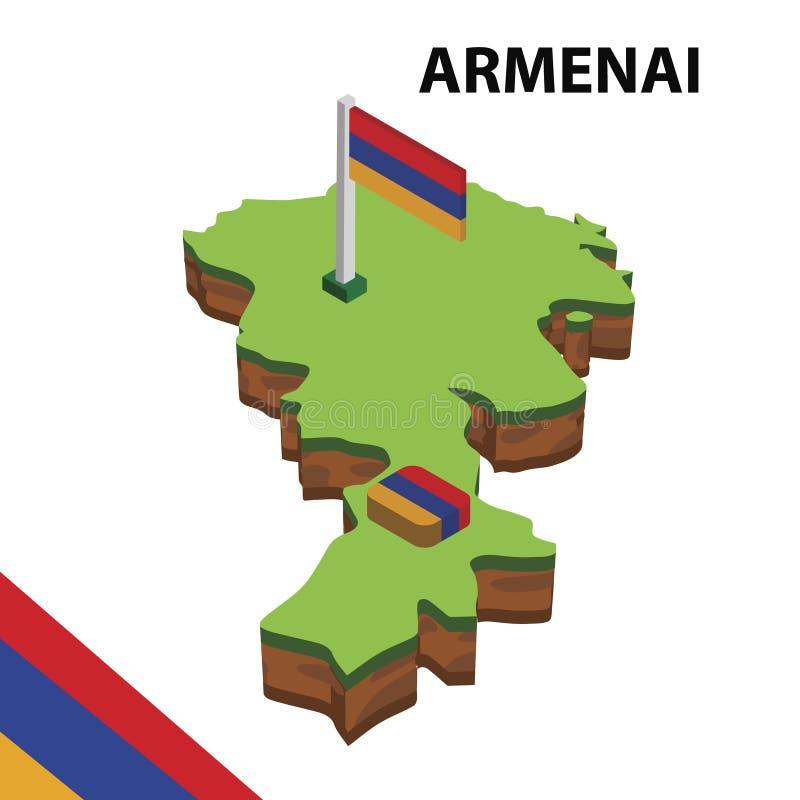 信息亚美尼亚的图表等量地图和旗子 r 向量例证