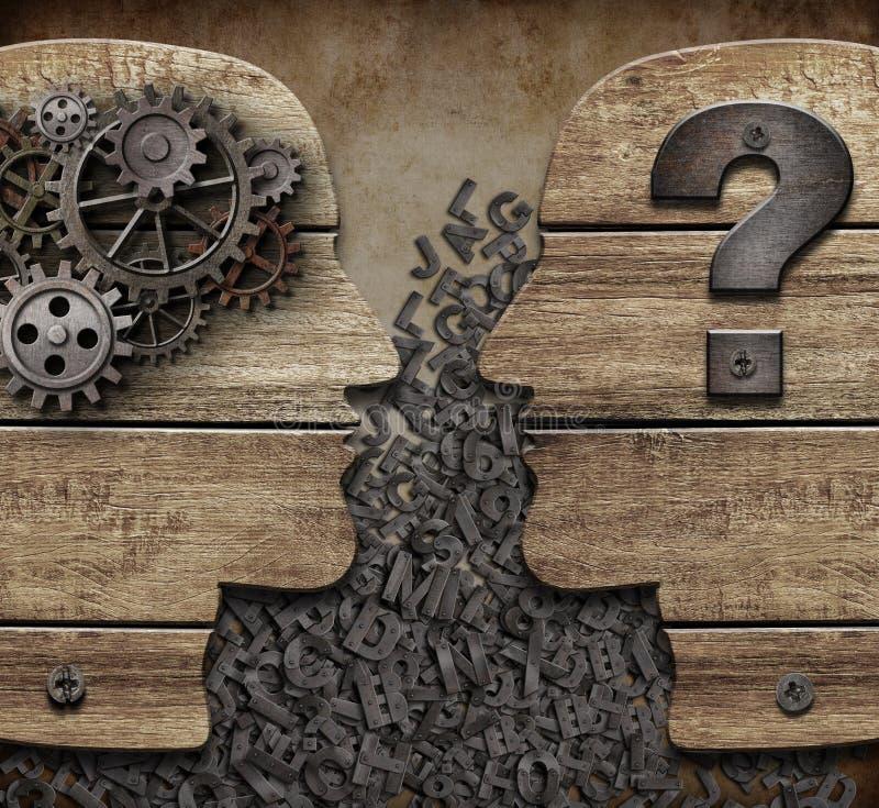 信息交换和缺乏理解概念在人3d例证之间 皇族释放例证