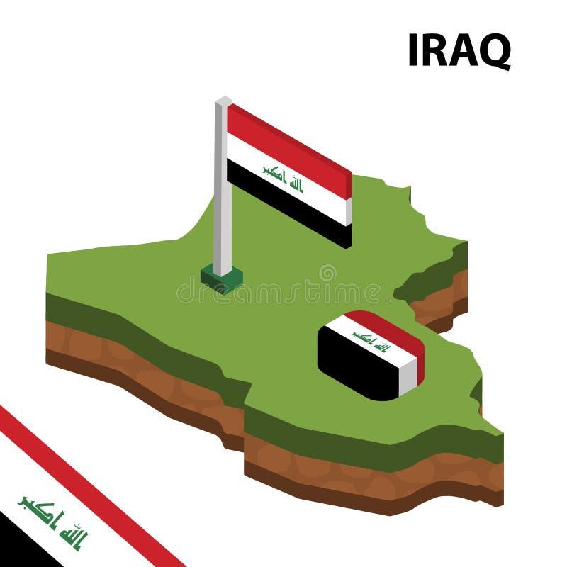 信息伊拉克的图表等量地图和旗子 r 向量例证